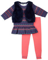 Petit Lem Girls 2-6x Bohemian Princess 3 Piece Tunic, Vest and Leggings Set