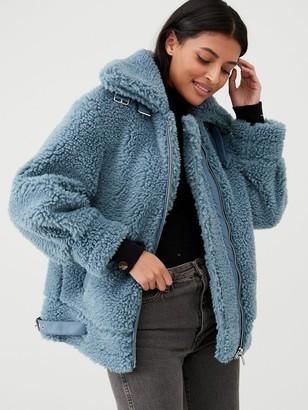 Very Faux Fur Aviator Coat - Blue