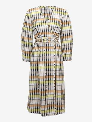 Baum und Pferdgarten Abylene Wrap Dress Peach Yellow Black Checks - 42