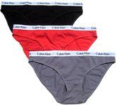 Calvin Klein Womens 3 Pack Carousel Cotton Bikini Black/Red/Dark Grey