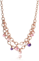 Rebecca Hollywood Stone Rose Gold Over Bronze Chains Necklace w/Hydrothermal Stones