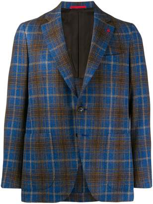 Isaia check fitted blazer