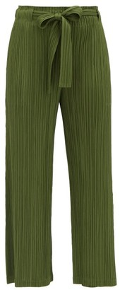 Pleats Please Issey Miyake Tie-front Technical-pleated Trousers - Khaki