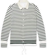 Sacai Shell-Trimmed Striped Cotton Cardigan