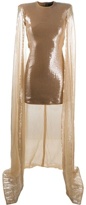 David Koma Sequined Cape Dress