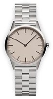 Uniform Wares C35 Polished Unisex Quartz Watch with Beige Dial Analogue Display And Silver Stainless Steel Bracelet