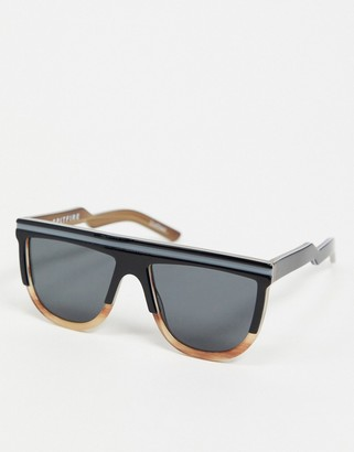 Spitfire Cut Two retro flat brow sunglasses in black and brown tort