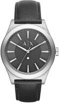 Armani Exchange A X Men's Diamond Accent Black Leather Strap Watch 44mm AX2325