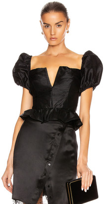 MARKARIAN Lucia Off the Shoulder Peplum Top in Black | FWRD