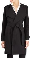 Lauren Ralph Lauren Plus Size Women's Crepe Drape Front Trench Coat