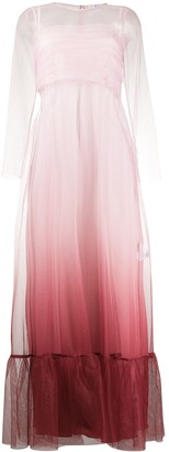 RED Valentino Ombre Tulle Long-Sleeve Dress