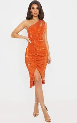 PrettyLittleThing Rust Sequin One Shoulder Strap Cut Out Ruched Midi Dress