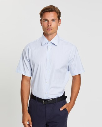 Gieves And Hawkes Vertical Striped Short Sleeved Dress Shirt