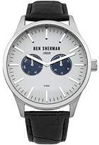 Ben Sherman men's quartz Watch with silver Dial chronograph Display and black leather Strap WB024S