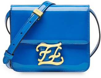 Fendi karligraphy patent leather shoulder bag