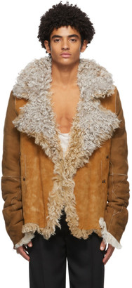 Ann Demeulemeester Reversible Brown and Off-White Shearling Jacket