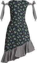 House of Holland Off-the-shoulder floral-print cady dress