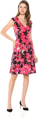 London Times Women's Shirred Shoulder FIT and Flare Dress