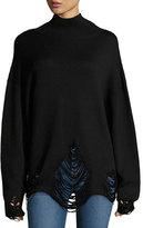 IRO Padas Turtleneck Fringed-Hem Wool Sweater
