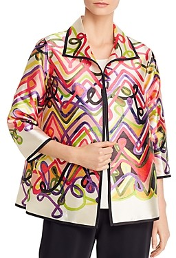 Caroline Rose Printed Open-Front Jacket