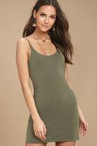 LuLu*s Fine Day Washed Olive Green Dress