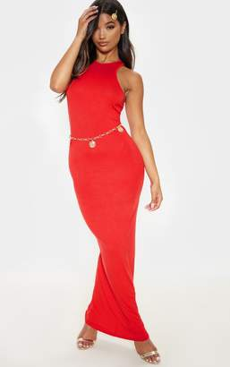 PrettyLittleThing Red Jersey High Neck Maxi Dress
