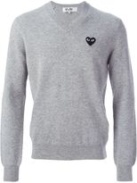 Comme des Garcons logo patch v-neck sweater - men - Wool - S
