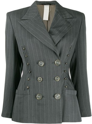 Versace Pre Owned 1980's Pinstriped Double-Breasted Jacket