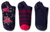 Merona Women's Low-Cut Socks 3-Pack Navy Roses One Size