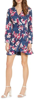 Adelyn Rae Shayne Long Sleeve Floral Faux Wrap Dress