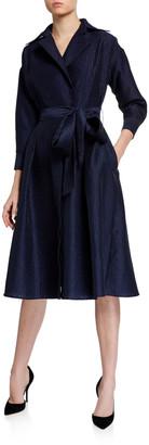 Rickie Freeman For Teri Jon Floral Jacquard Midi Shirtdress