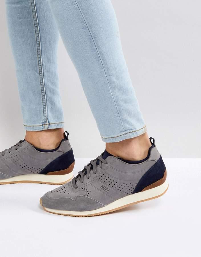 BOSS Adrenal Nubuck Sneakers in Gray