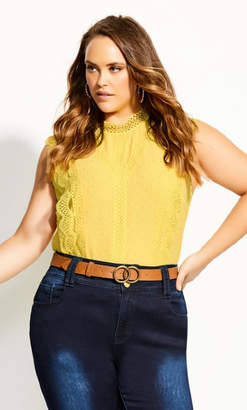 City Chic Lace Folly Top - buttercup