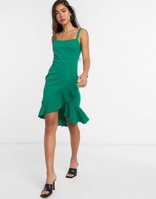 Girl In Mind frill hem strappy dress in green