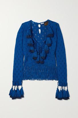 Loewe Tasseled Pointelle-knit Cotton Sweater - Blue