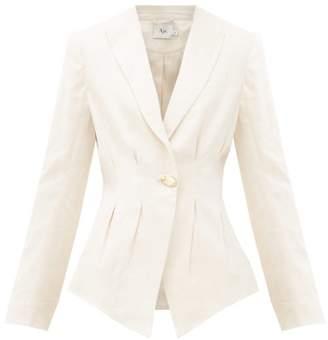 BEIGE Aje - Behati Single-breasted Godet-pleat Linen Jacket - Womens
