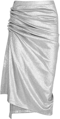 Paco Rabanne Silver ruched lame midi skirt