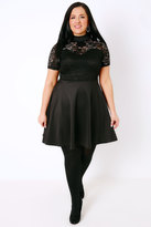 Yours Clothing PRASLIN Black Turtle Neck Skater Dress With Lace Bodice & Sweetheart Cutout