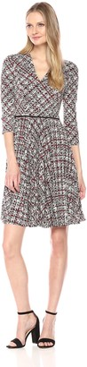 Maggy London Women's Grid Plaid Printed Jersey Fit and Flare with Pleated Skirt