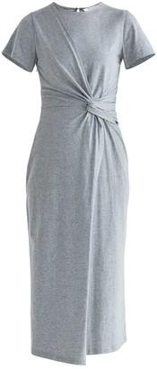 Paisie Ivy Twist Dress In Light Grey