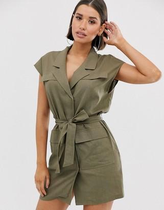 ASOS DESIGN sleeveless utility mini dress with belt in linen