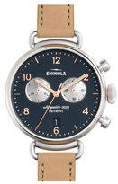 Shinola Women's 'The Canfield Chrono' Leather Strap Watch, 38Mm