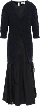 3.1 Phillip Lim Pleated Layered Cable-knit, Cotton-poplin And Georgette Midi Dress