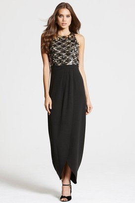 Little Mistress Black and Gold Crossover Maxi Dress