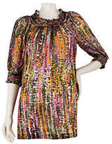 George Simonton Printed Top with SmockedNeckline &Cuffs