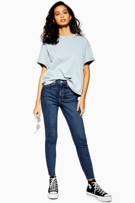 Topshop Womens Petite Vintage Indigo Raw Hem Jamie Jeans - Indigo