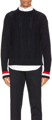 Thom Browne Classic Aran Cable Pullover in Navy | FWRD