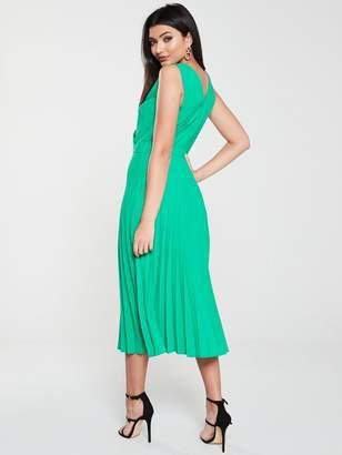 Warehouse Pleated Midi Dress - Green