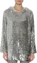 MSGM Sequin Long-Sleeve Hoodie Top, Silver