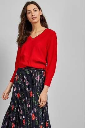 Ted Baker Womens Red Rib Knit Jumper - Red